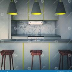 Gray Kitchen Chairs Restaurant Double Swing Doors 有三把椅子的灰色厨房库存例证 插画包括有边缘 碗柜 椅子 机柜 干净 有三把椅子的灰色厨房