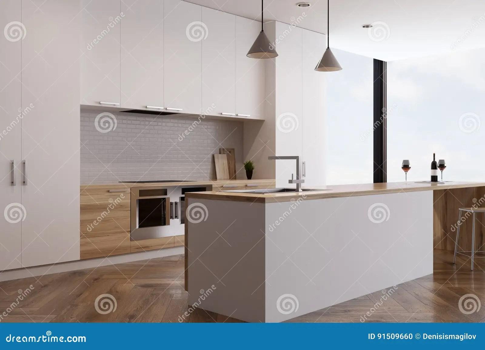 kitchen ovens flush lighting 有两个烤箱和酒吧的厨房库存例证 插画包括有烹调 出票人 背包 里面 厨房内部的侧视图与在轻的木工作台面和酒吧制作的两个烤箱的全景窗口在背景中3d翻译 嘲笑