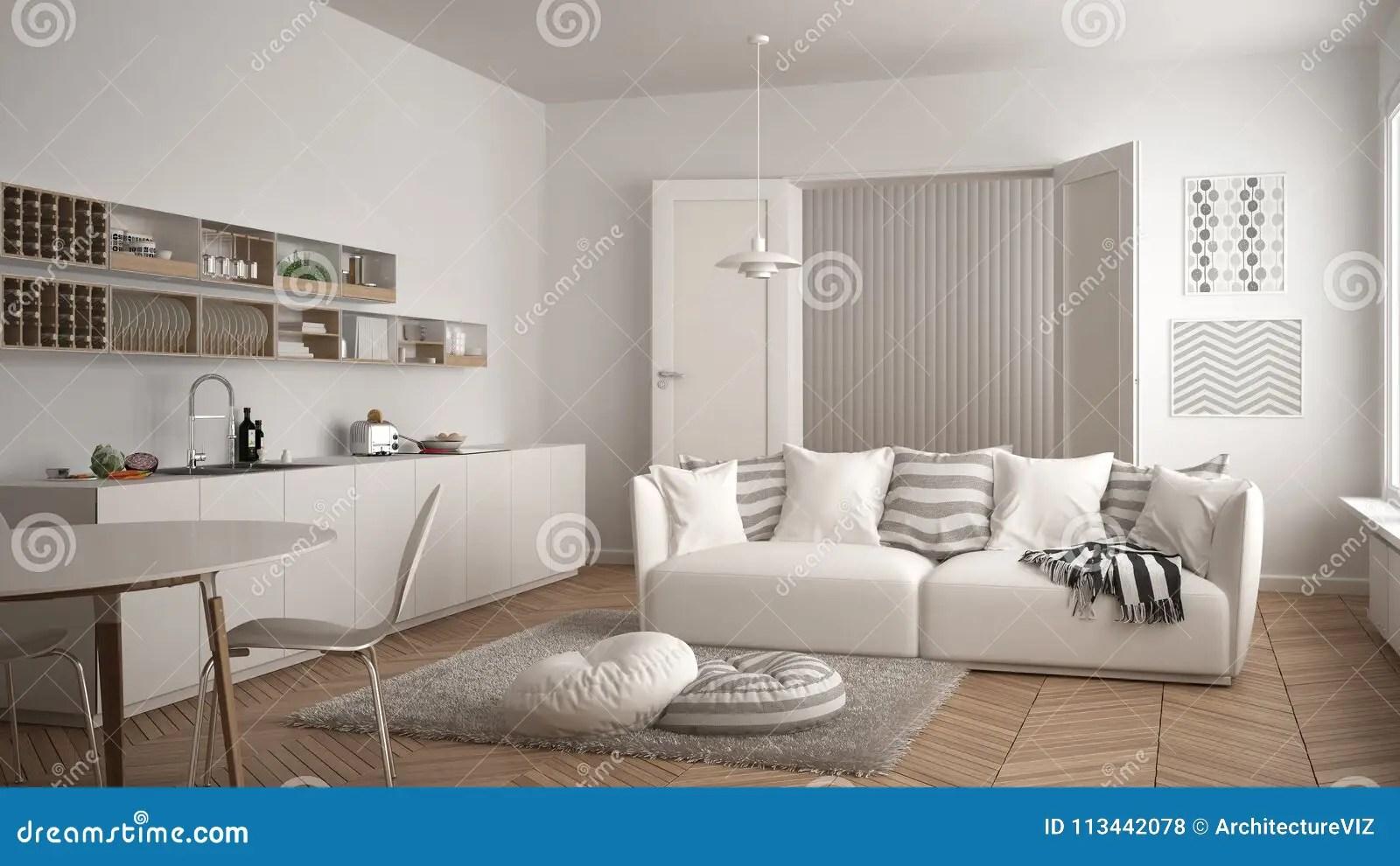 kitchen dining tables pan rack 有厨房 餐桌 沙发和地毯的与枕头 最低纲领派白色建筑学内部desi斯堪的 最低纲领派白色