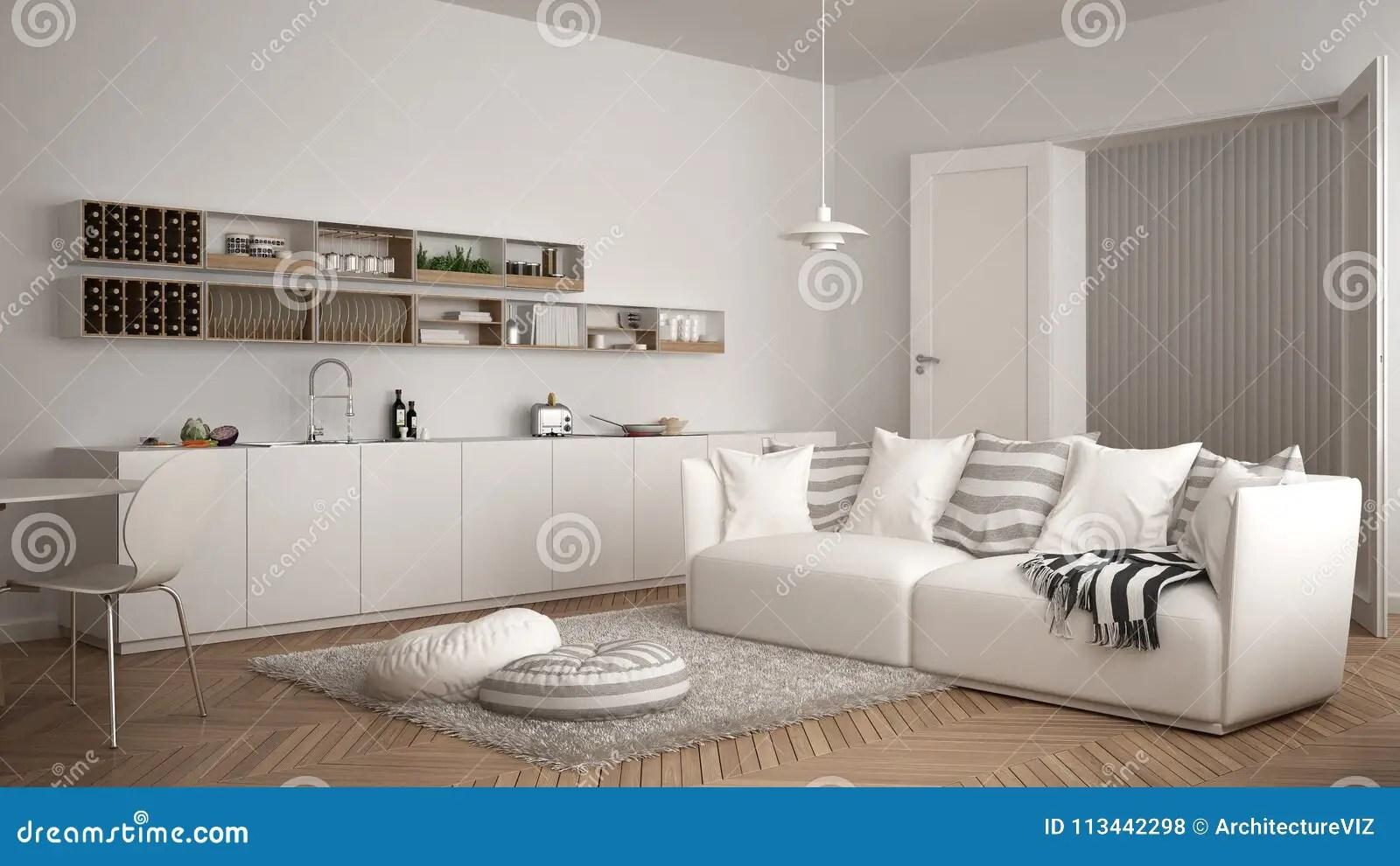 kitchen dining tables wall tile for 有厨房 餐桌 沙发和地毯的与枕头 最低纲领派白色建筑学内部desi斯堪的 最低纲领派白色
