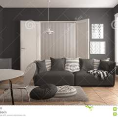Grey Kitchen Rugs Hanging Lights For Island 有厨房的斯堪的纳维亚现代客厅 餐桌 沙发和地毯与枕头 最低纲领派白色 最低纲领派白色和灰色建筑学室内设计