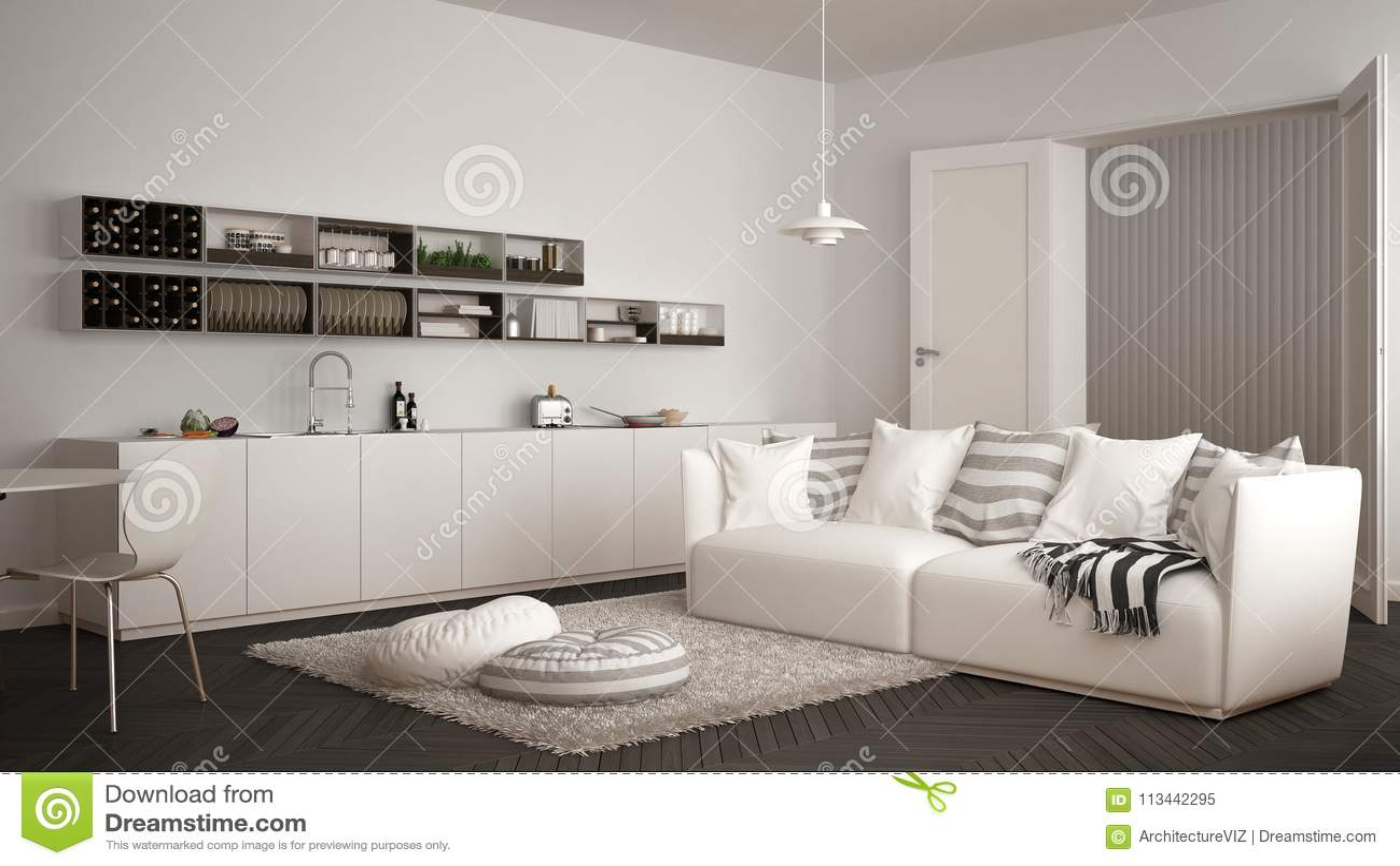 grey kitchen rugs island prices 有厨房的斯堪的纳维亚现代客厅 餐桌 沙发和地毯与枕头 最低纲领派白色 最低纲领派白色和灰色建筑学室内设计