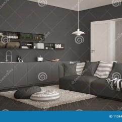 Grey Kitchen Rugs Lighting Flush Mount 有厨房的斯堪的纳维亚现代客厅 餐桌 沙发和地毯与枕头 最低纲领派白色 最低纲领派白色和灰色建筑学室内设计