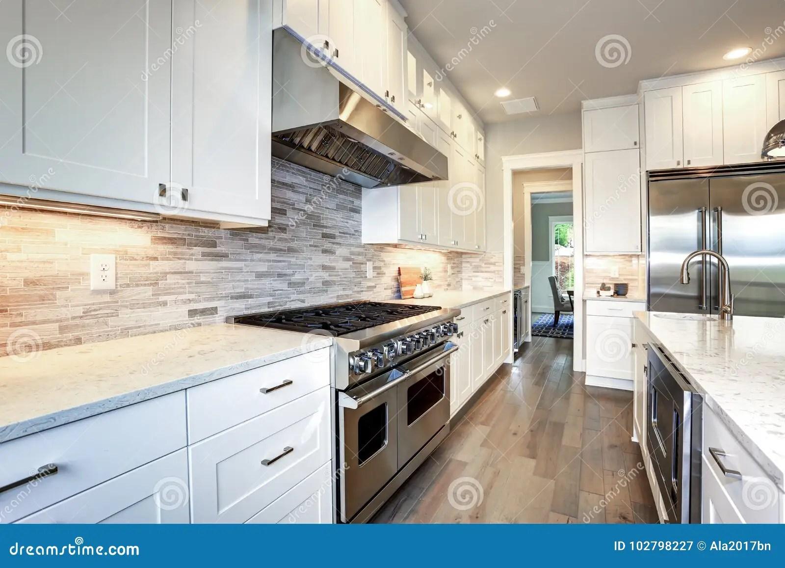 large kitchen pantry tall cabinet with doors 有大厨房的豪华白色厨房库存图片 图片包括有平面 任何地方 发光 房子 与白色振动器内阁的惊人的白色厨房设计与白色和灰色大理石柜台 大白色厨房半岛和高端不锈钢装置配对了