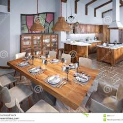 High Kitchen Table Sets Island For 有大餐桌的餐厅和在lof的高天花板库存图片 图片包括有豪华 想法 烹调 有大餐桌的餐厅和高天花板在顶楼光滑用餐入厨房3d回报