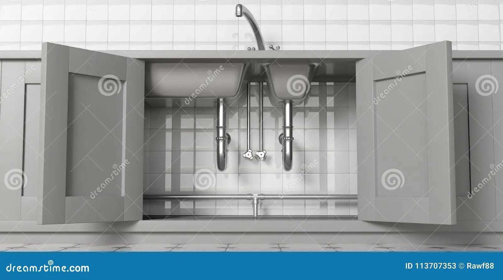sink kitchen cabinets martha stewart 有开门 不锈钢水槽和水龙头的厨柜 在看法下白色铺磁砖的墙壁backgound 在看法下白色铺