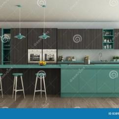 Turquoise Kitchen Decor Items List 有木和绿松石细节的 Mi斯堪的纳维亚白色厨房库存例证 插画包括有木条 Minimalistic室内设计斯堪的纳维亚白色厨房
