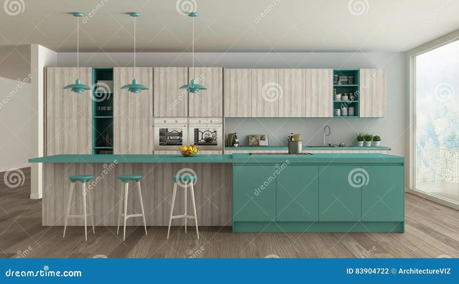 turquoise kitchen decor toy kitchens for toddlers 有木和绿松石细节的 mi斯堪的纳维亚白色厨房库存例证 插画包括有独有 minimalistic室内设计斯堪的纳维亚白色厨房