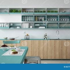 Turquoise Kitchen Decor Blue Appliances 有木和绿松石细节的 Ve Minimalistic白色厨房库存例证 插画包括有早晨 Minimalistic白色厨房