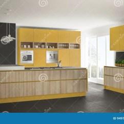 Kitchen Console Floor Options 有木和黄色细节的 Minimalisti现代白色厨房库存例证 插画包括有控制台 Minimalistic室内设计现代白色厨房