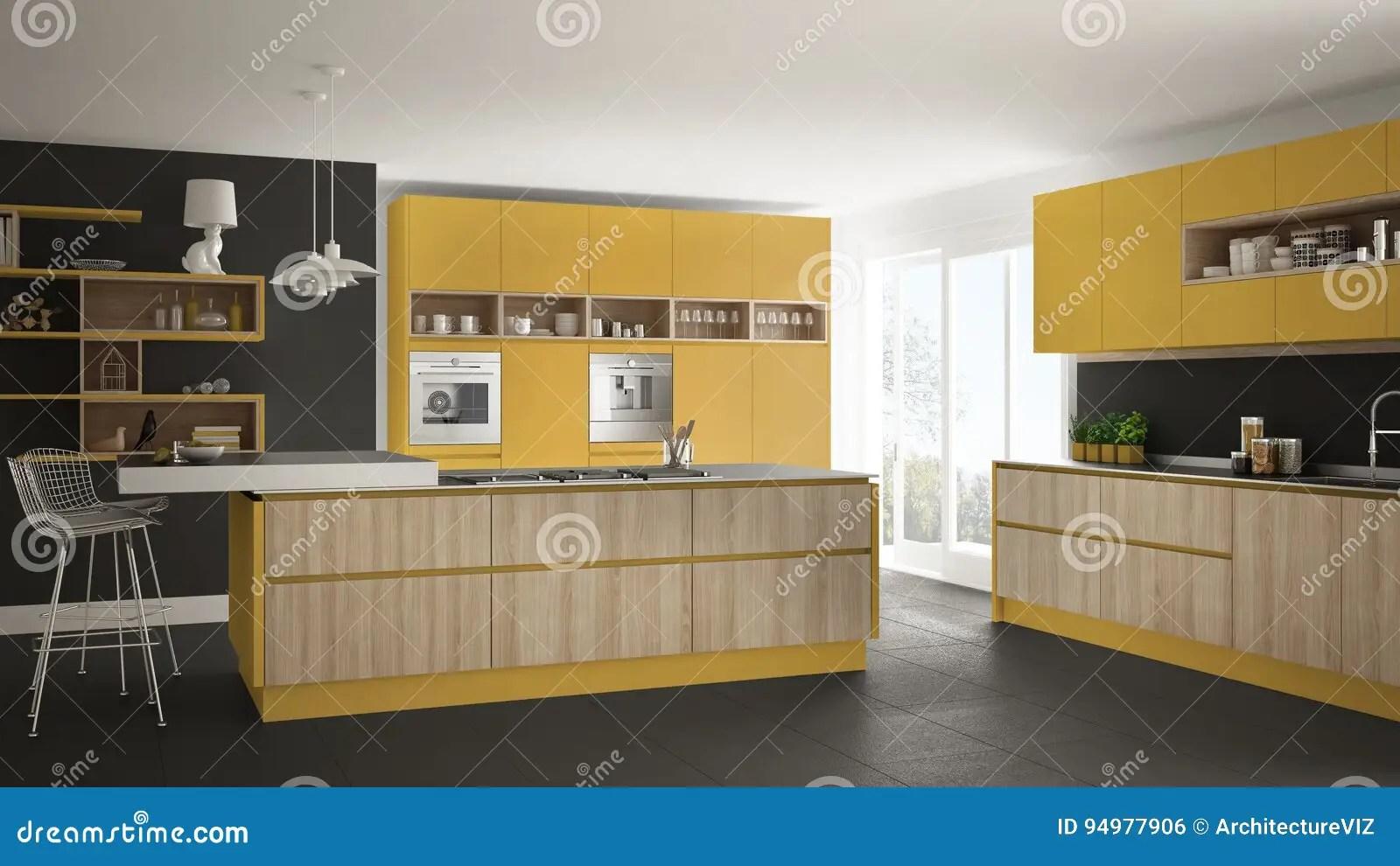 kitchen console table lights over island 有木和黄色细节的 minimalisti现代白色厨房库存例证 插画包括有控制台 minimalistic室内设计现代白色厨房