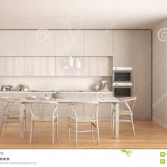 White Kitchen Floor Tables With Benches 有木地板的 经典内部现代最小的白色厨房库存图片 图片包括有厨具 颜色 经典内部现代最小的白色厨房