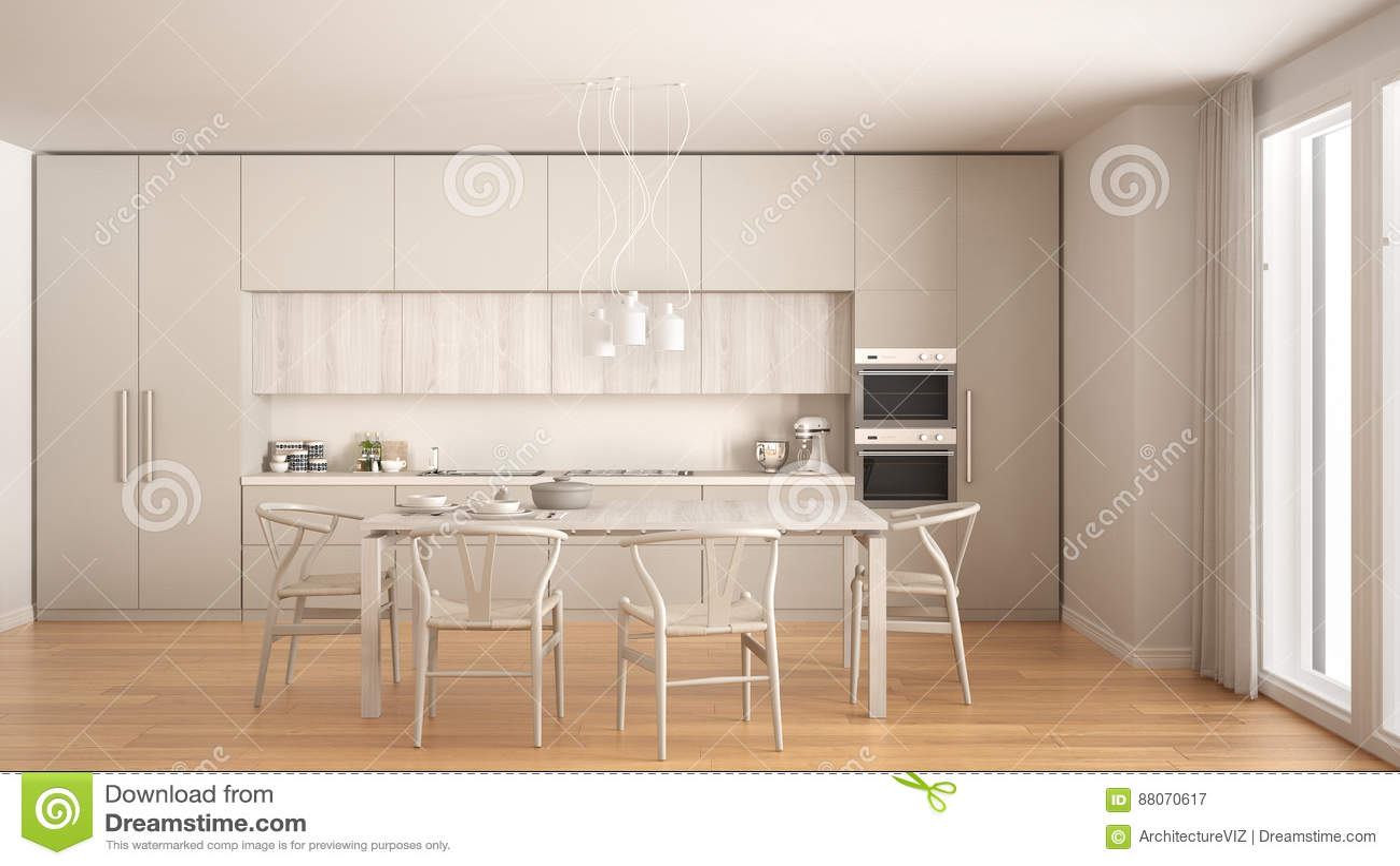 wood floors in kitchen complete outdoor kits 有木地板的 经典内部现代最小的白色厨房库存图片 图片包括有厨具 颜色 经典内部现代最小的白色厨房