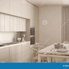 Wood Floors In Kitchen Counter Height Table 有木地板的 经典内部现代最小的白色厨房库存图片 图片包括有照亮 户内 经典内部现代最小的白色厨房