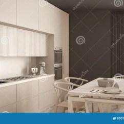 White Kitchen Floor Organizer 有木地板的 经典内部现代最小的白色厨房库存图片 图片包括有简单派 经典内部现代最小的白色厨房