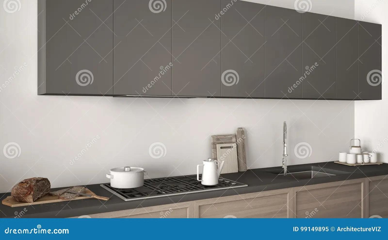 kitchen miniature cute chalkboard sayings 有木细节的现代厨房关闭 白色和灰色微型库存例证 插画包括有家具 食物 白色和灰色微型