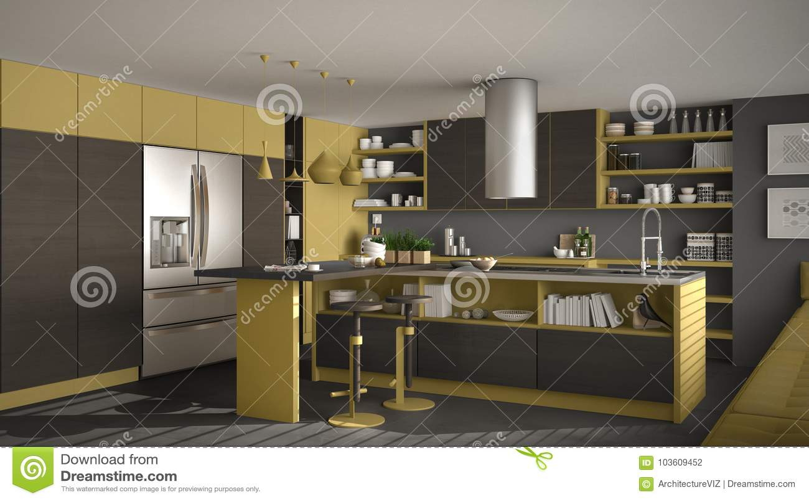 grey kitchen blinds restaurant doors 有木细节 灰色和黄色minim的现代木厨房库存例证 插画包括有灌肠器 灰色和黄色minim的现代木厨房