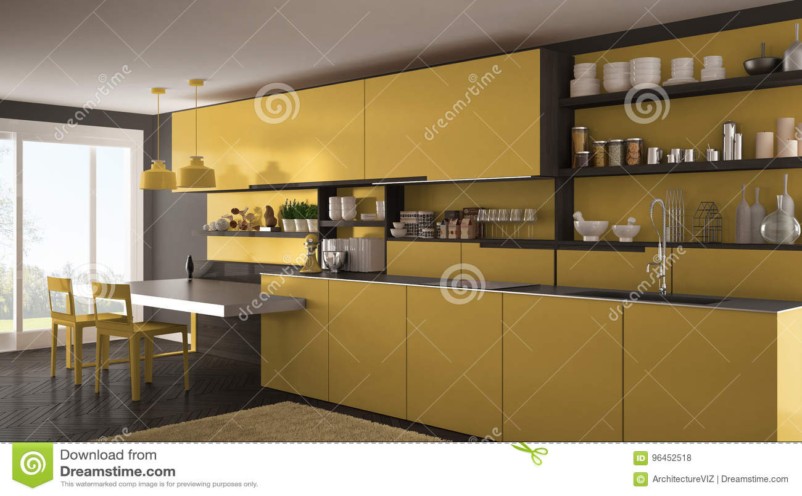 modern kitchen rugs wrought iron table 有木细节 桌和椅子的最低纲领派现代厨房 库存例证 插画包括有地毯 桌和椅子的 黄色室内设计最低纲领派现代厨房