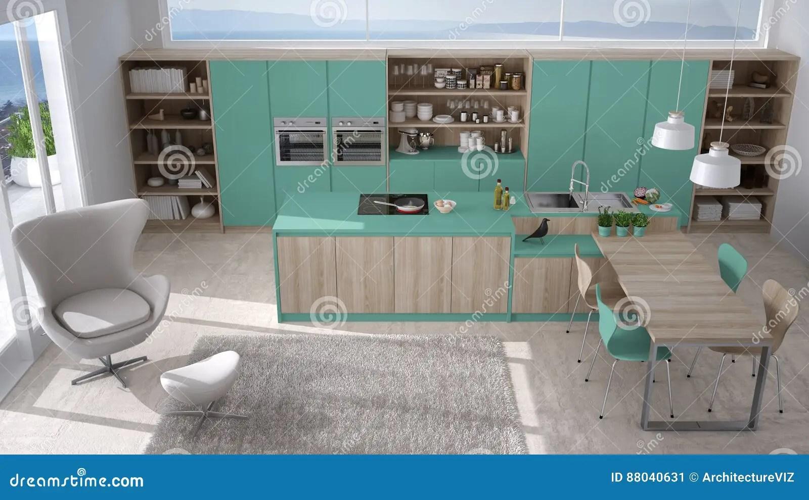 turquoise kitchen decor food truck equipment 有木细节的现代白色和绿松石厨房 大风库存例证 插画包括有厨房 舒适 大风