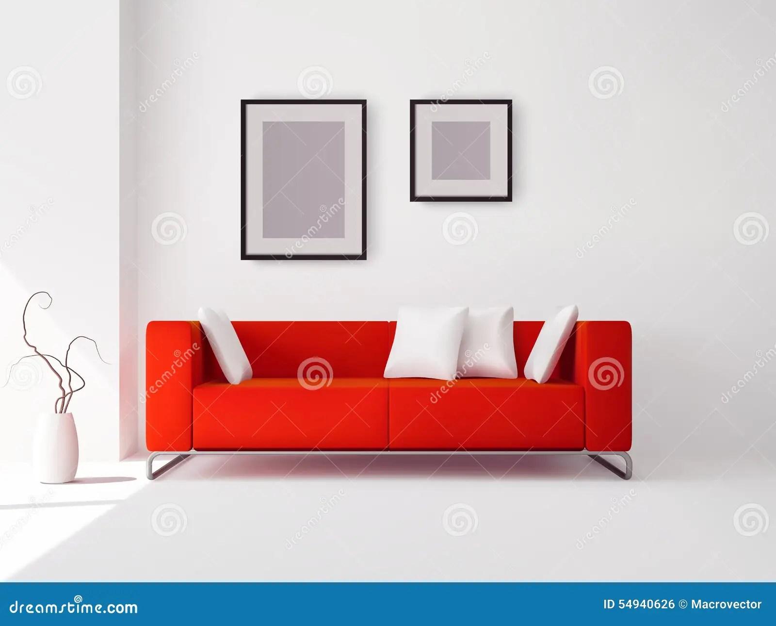 framed prints for kitchens outdoor kitchen design software 有枕头和框架的红色沙发向量例证 插画包括有现代 设计 海报 艺术 有枕头和框架的红色沙发