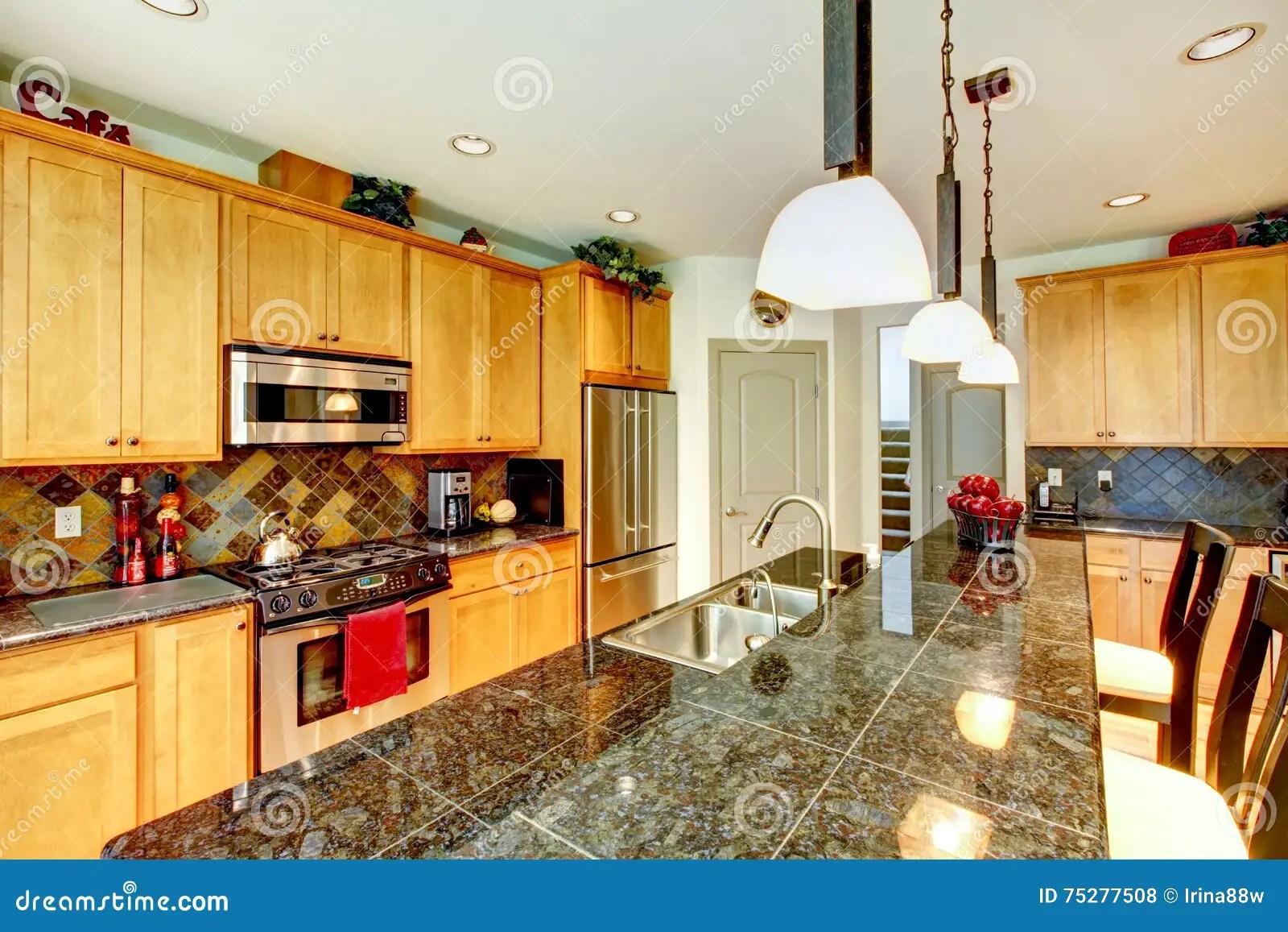 brown kitchen sink contemporary decor 有棕色内阁的厨房室 不锈钢 花岗岩桌面库存照片 图片包括有设计 冰箱 厨房与浅褐色的内阁 不锈钢和花岗岩桌面的室内部西北 美国