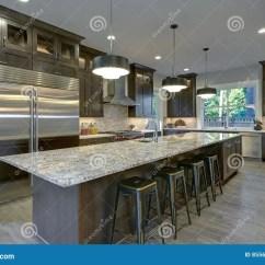Renew Kitchen Cabinets Online Set 有棕色厨柜的现代厨房库存图片 图片包括有机柜 现代 房子 更新 冰箱 有棕色厨柜的现代厨房