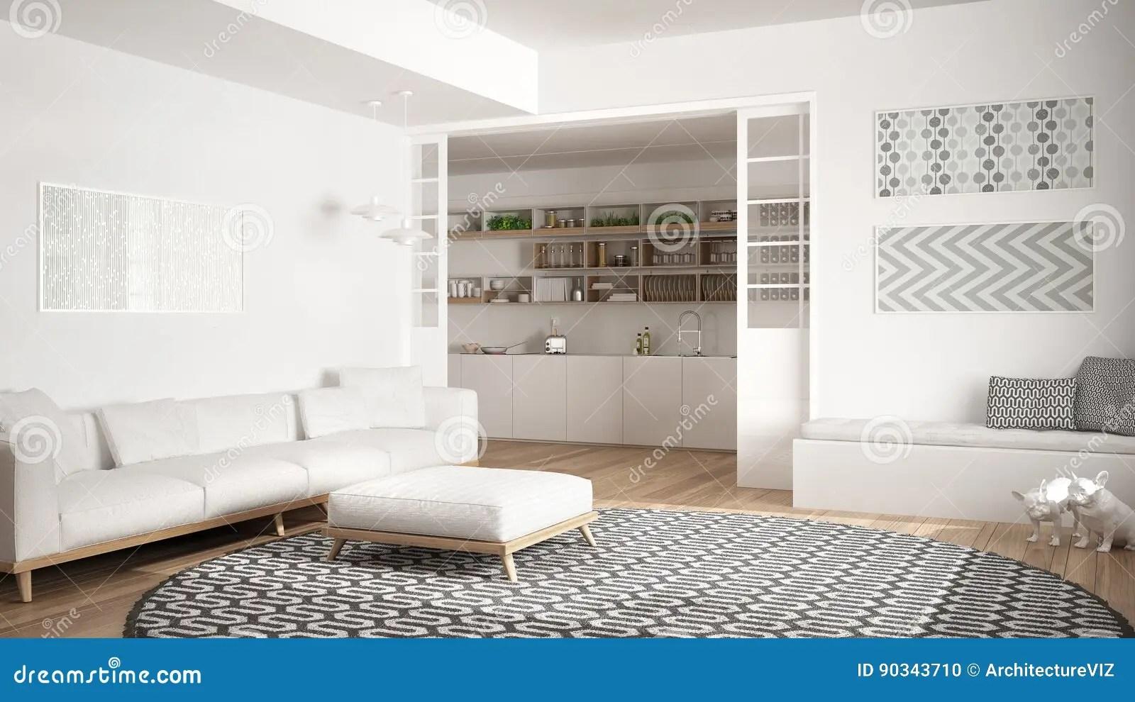 wine kitchen rugs island with fridge 有沙发 大圆的地毯和厨房的最低纲领派客厅我库存照片 图片包括有舒适 大圆的地毯和厨房的在背景中 白色现代室内设计最低纲领派客厅