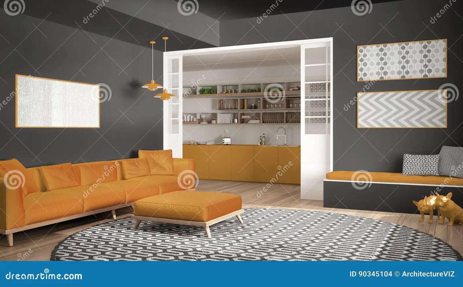 yellow kitchen rugs fan cover 有沙发 大圆的地毯和厨房的最低纲领派客厅我库存例证 插画包括有行家 大圆的地毯和厨房的最低纲领派客厅背景 灰色和黄色现代室内设计的