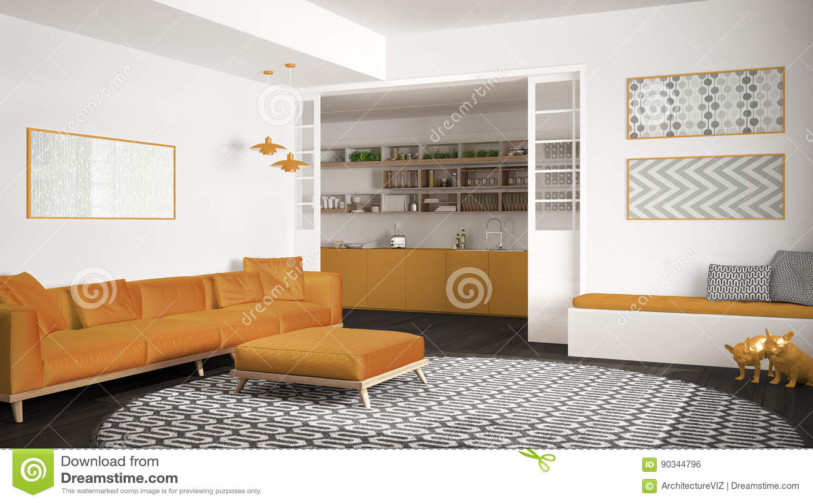 yellow kitchen rugs roll about cart 有沙发 大圆的地毯和厨房的最低纲领派客厅背景 灰色和黄色现代室内设计 灰色和黄色现代内部的