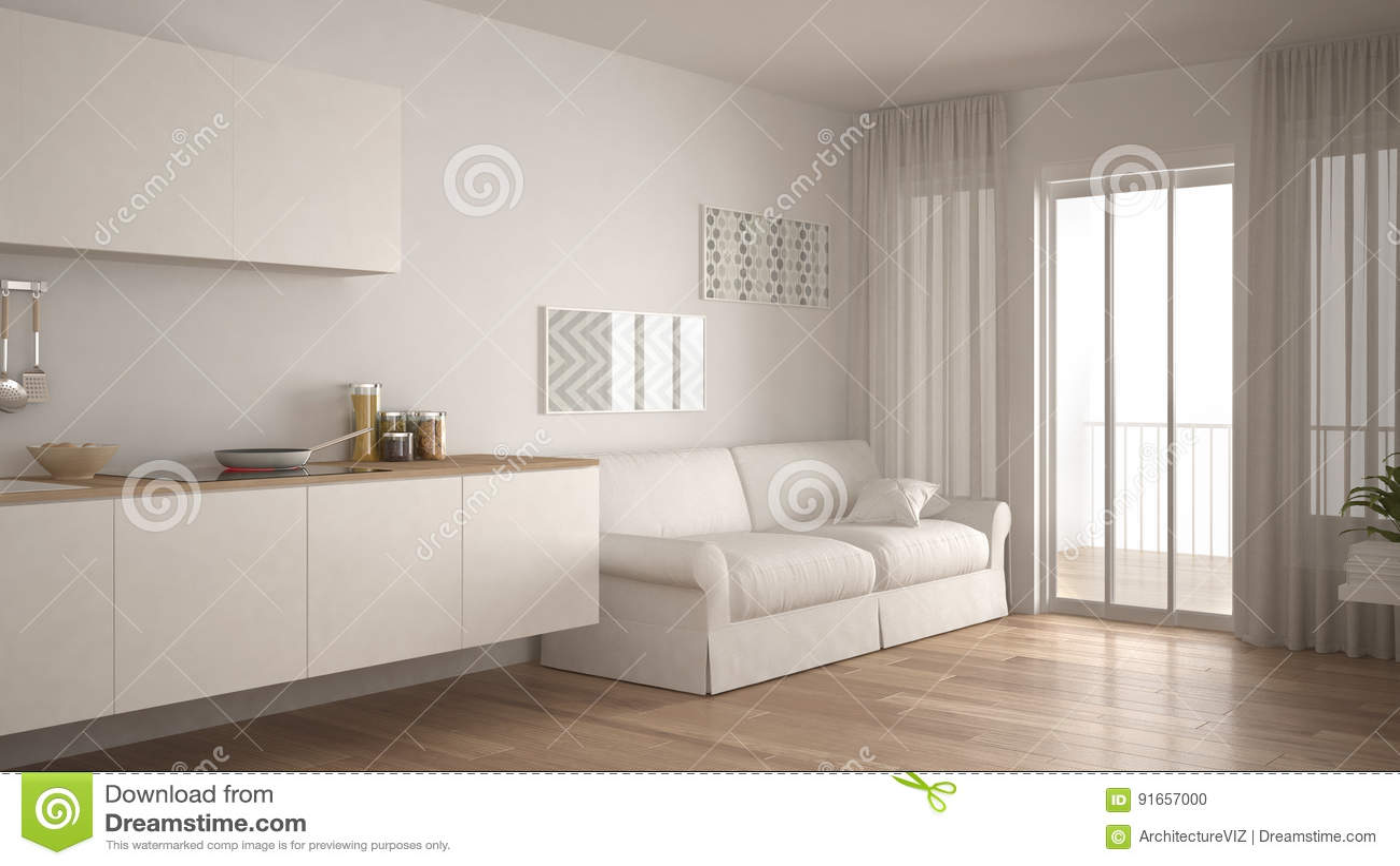kitchen miniature metal shelves 有沙发的 木镶花地板 白色微型斯堪的纳维亚厨房库存例证 插画包括有 白色微型斯堪的纳维