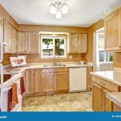 Renew Kitchen Cabinets 13 Gallon Trash Can 有白色装置的新的厨柜库存图片 图片包括有水槽 空白 更新 空间 顶层 在轻的口气的新的木厨柜与白色装置