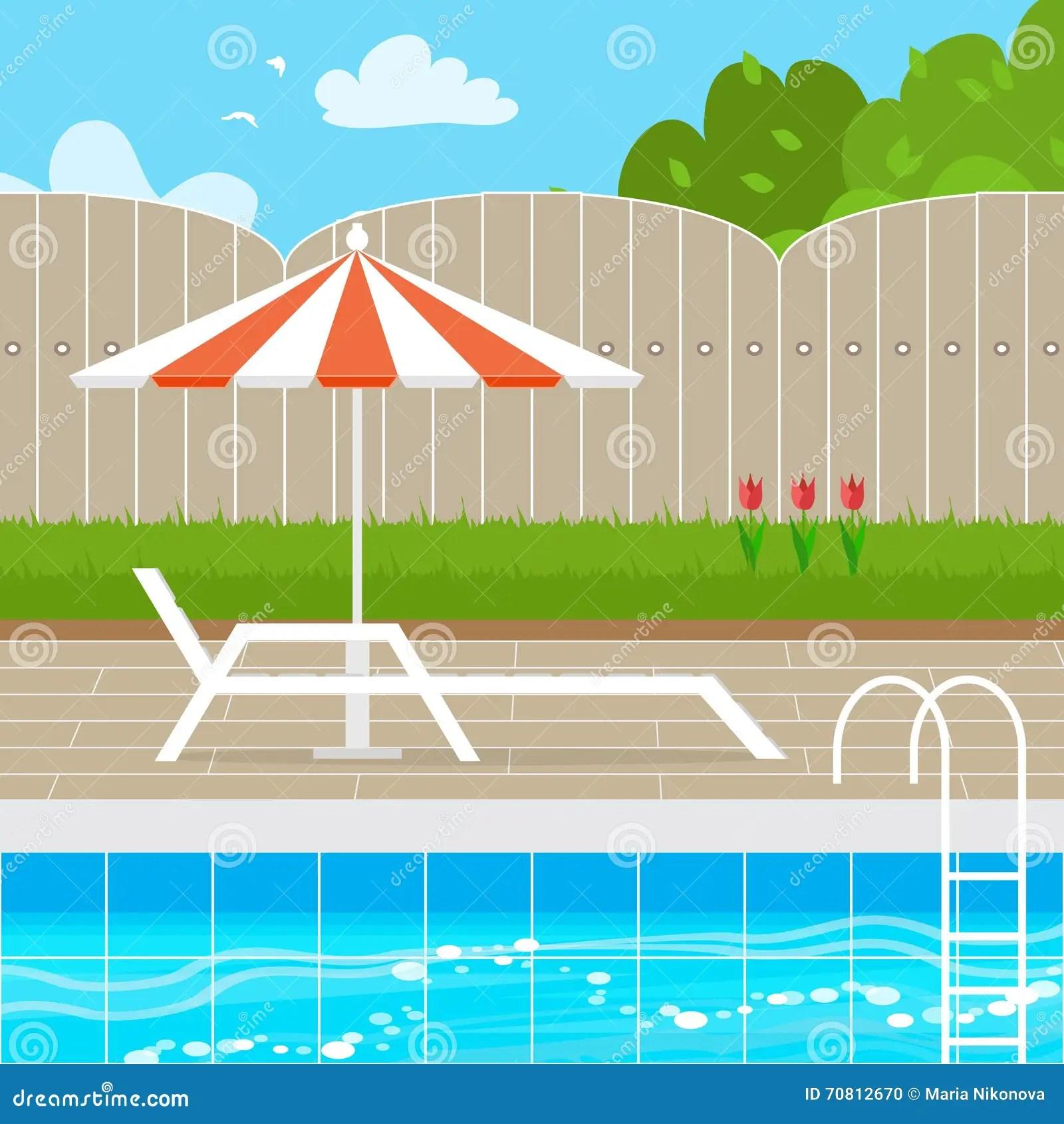 有遮陽傘傘的輕便馬車休息室在游泳池附近 向量例證. 插畫 包括有 有遮陽傘傘的輕便馬車休息室在游泳池附近 - 70812670