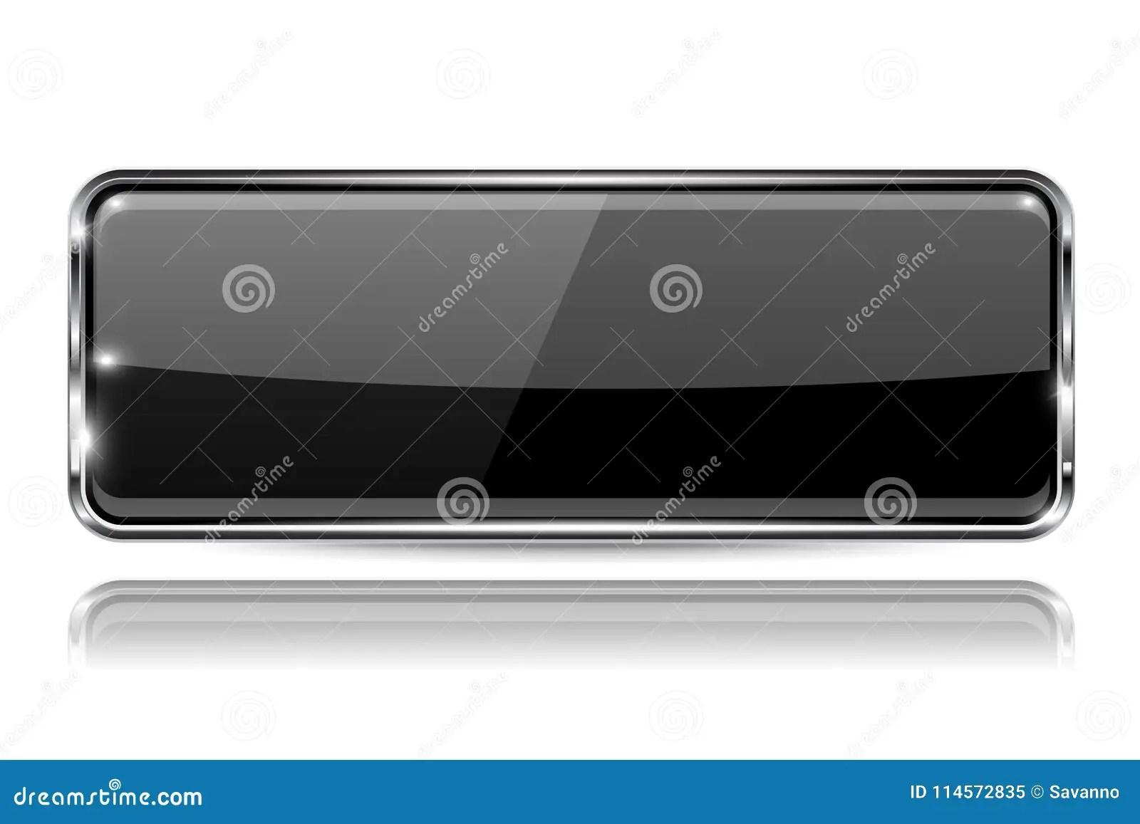 framed prints for kitchens polished brass kitchen faucets 有金属框架的黑玻璃3d按钮长方形形状在白色背景的反射向量例证 插画包括 有金属框架的黑玻璃3d按钮长方形形状在白色背景的反射