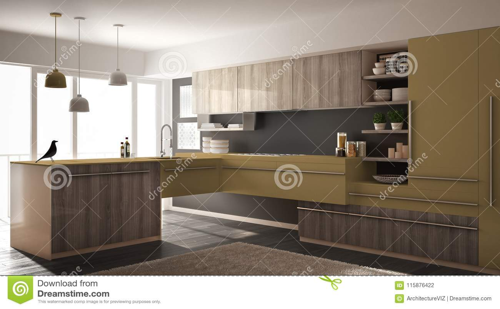 grey kitchen rugs wooden cabinets 有镶花地板 地毯和全景窗口 灰色和黄色建筑学室内设计的现代 灰色和黄色建筑学室内
