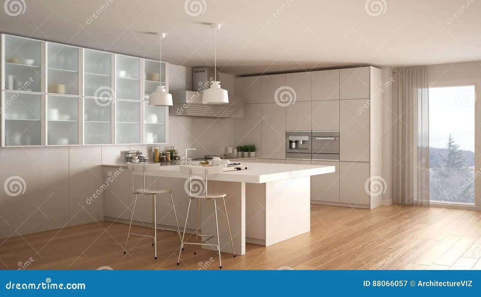 white kitchen floor grey chairs 有镶花地板的 现代interio经典最小的白色厨房库存例证 插画包括有消耗 现代interio经典最小的白色厨房