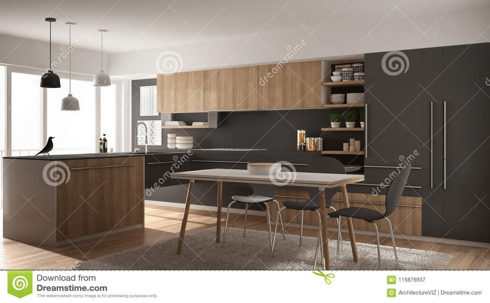 grey kitchen rugs redo ideas 有餐桌 地毯和全景窗口 白色和灰色建筑学内部的现代minimalistic木厨房 白色和灰色建筑学室内设计的现代minimalistic木厨房