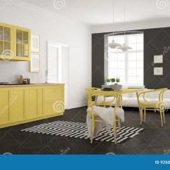 Modern Kitchen Rugs Home Depot Backsplash 有餐桌和客厅的 Whi最低纲领派现代厨房库存例证 插画包括有颜色 住宅 有餐桌和客厅 白色和黄色斯堪的纳维亚室内设计的最低纲领派现代厨房
