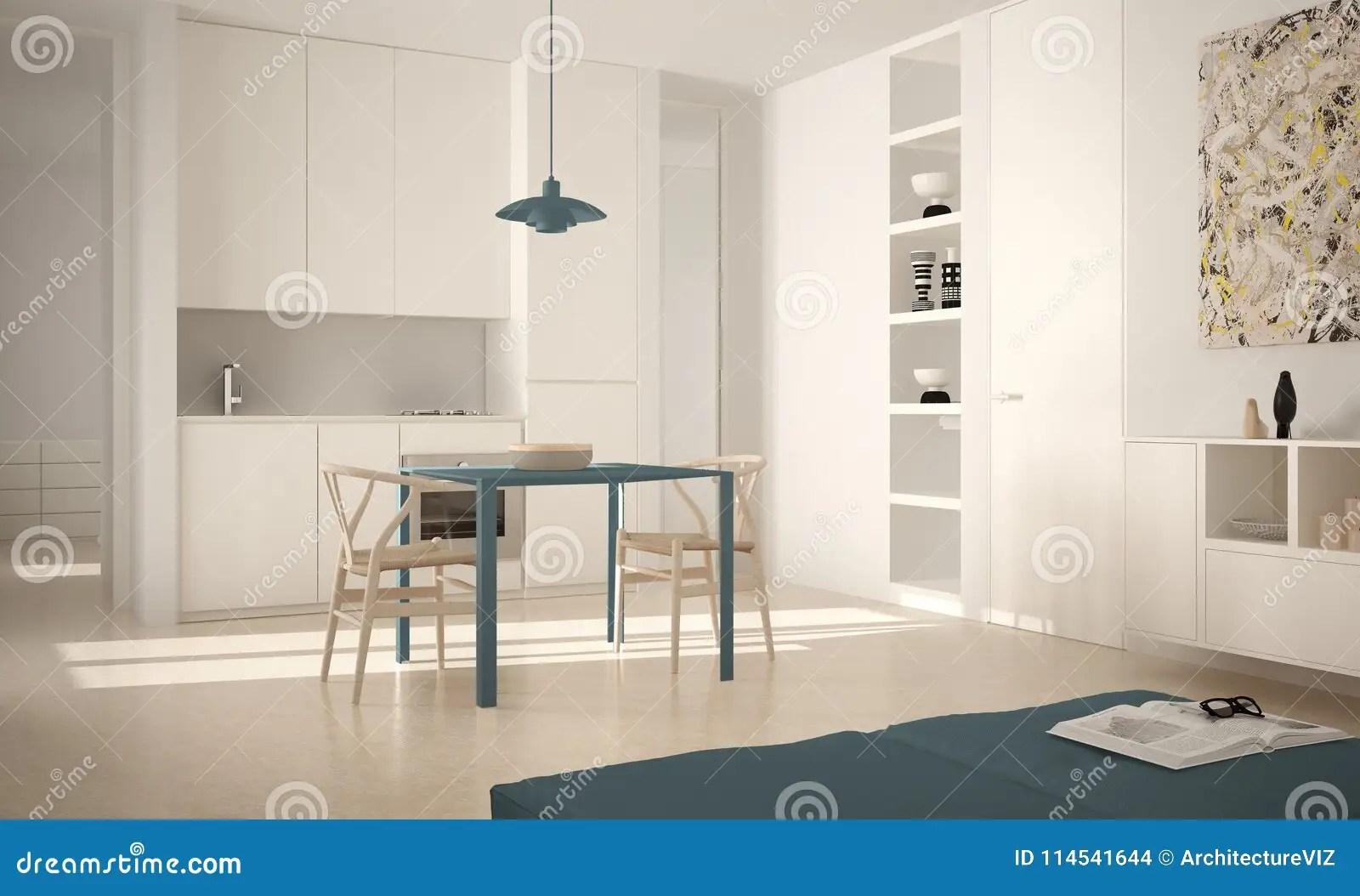 blue kitchen chairs led lights 有餐桌的最低纲领派现代明亮的厨房和椅子 大窗口 白色和蓝色建筑学内部 白色和蓝色建筑学室内设计