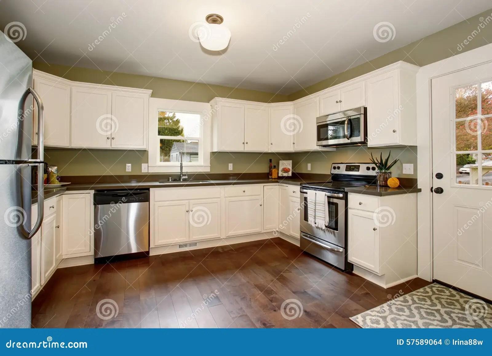 kitchen paints how much does it cost to replace cabinet doors 有绿色内部油漆的经典厨房和白色内阁库存照片 图片包括有机柜 不锈 有绿色内部油漆 硬木地板和白色内阁的经典厨房