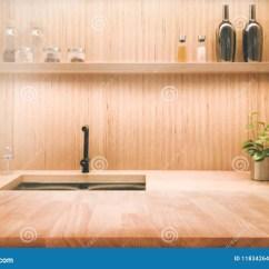 In Stock Kitchens Kitchen Cabinet Brands Reviews 木在迷离厨房内部背景的桌桌面库存照片 图片包括有架子 现代 装饰 木在迷离厨房内部背景的桌桌面