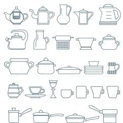 Kitchen Tool Set Round Glass Tables 概述象汇集 烹调 厨房工具 厨具向量例证 插画包括有平板炉 大啤酒杯 厨房工具和器物 Ouline集合 传染媒介 厨具