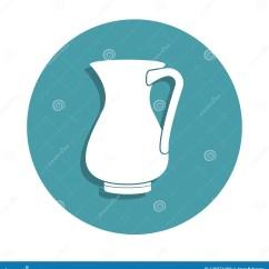 Kitchen Tools Store 6 Person Table 水罐在徽章样式的牛奶象一厨房工具汇集象可以为ui Ux使用库存例证