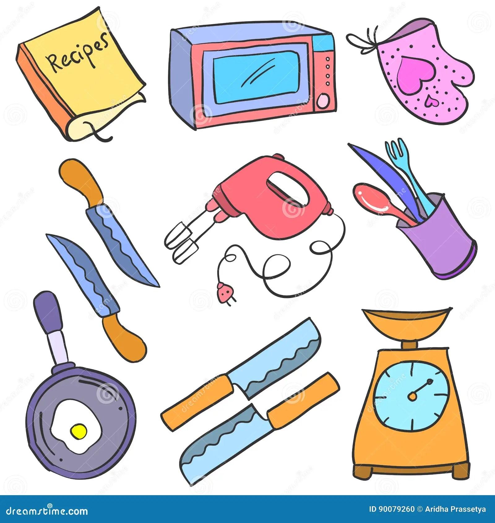 kitchen aid knives pan hanger 汇集储蓄厨房辅助部件乱画向量例证 插画包括有食物 烹调 刀叉餐具 现 汇集储蓄厨房辅助部件乱画
