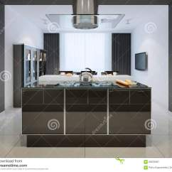 Kitchen Curtains Ideas Industrial Island 海岛酒吧想法在techno厨房的库存图片 图片包括有当代 厨房 现代 壁橱 海岛酒吧想法在techno厨房的