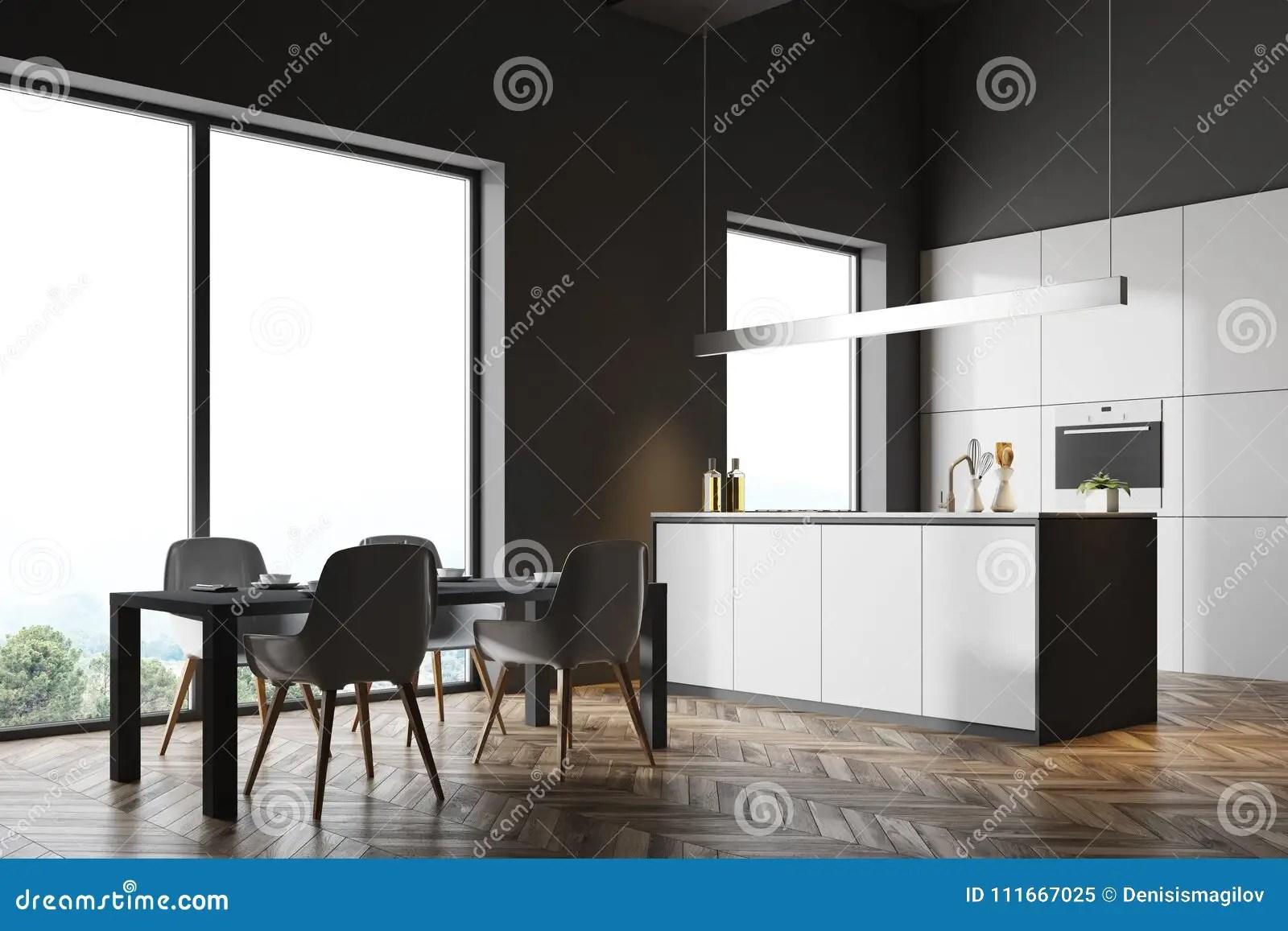 gray kitchen chairs faucet repair parts 深灰厨房角落 灰色桌库存例证 插画包括有椅子 设计 嘲笑 内部 任何 灰色桌