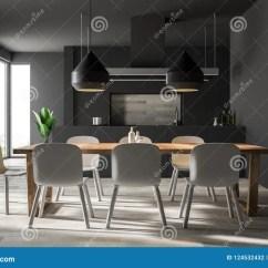 Gray Kitchen Chairs Dining Table 灰色厨房和餐厅内部库存例证 插画包括有玻璃 公寓 内部 庄园 椅子 与一个木地板 灰色工作台面和一张木桌的灰色墙壁厨房和餐厅内部与白色椅子3d翻译嘲笑