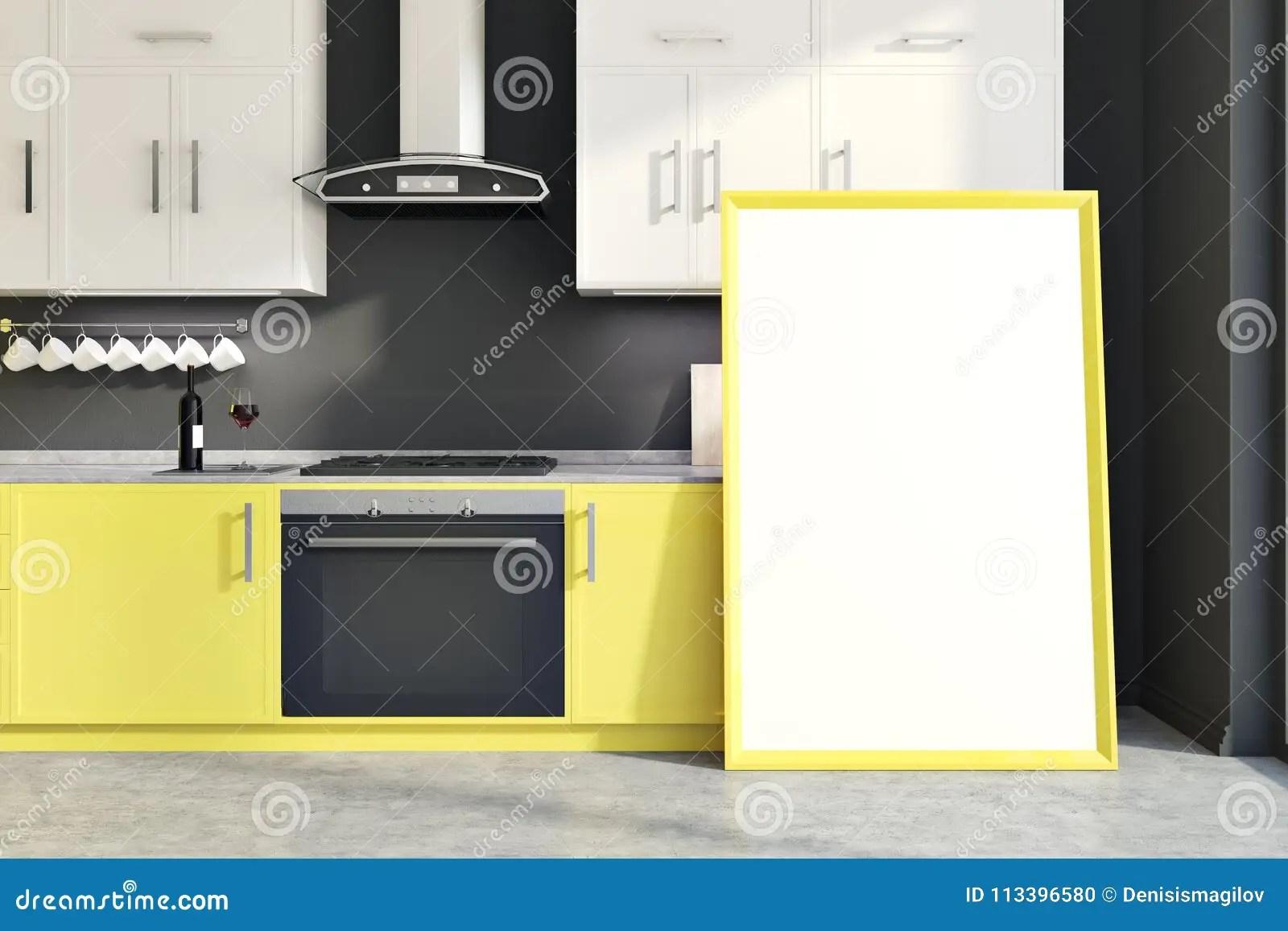 kitchen decor yellow hutch plans 灰色墙壁厨房黄色柜台 垂直的海报库存例证 插画包括有方便 装饰 国内 与黄色和白色柜台 碗柜 水槽和烹饪器材的灰色墙壁厨房内部在地板上的一张被构筑的垂直的海报3d翻译嘲笑