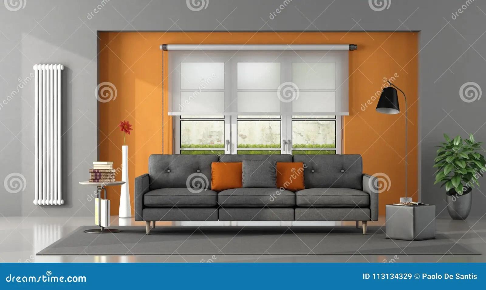 orange kitchen rug best undermount sink 灰色橙色客厅库存例证 插画包括有地毯 室内 典雅 投反对票 脚凳 有沙发和窗口的灰色橙色客厅在背景 3d翻译