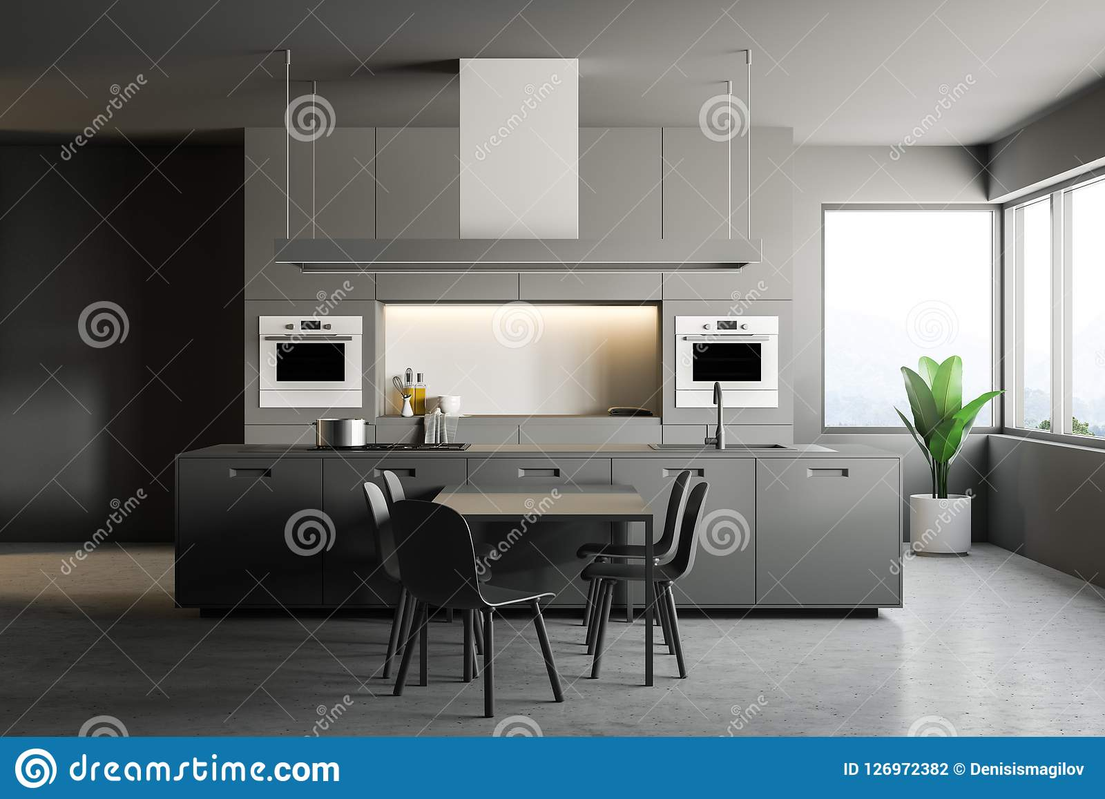gray kitchen chairs chicken decor 灰色现代厨房内部 桌和椅子库存例证 插画包括有机柜 楼层 碗柜 家具 桌和椅子