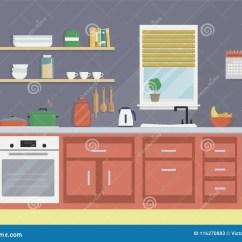 Modern Kitchen Art Cabinet Deals 现代厨房内部的平的传染媒介例证向量例证 插画包括有装饰 杯子 平面 现代厨房内部的平的传染媒介例证